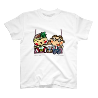 パソコン太郎の夢絵本ショップ(SUZURI店)のとちまるくんとパソコン太郎の夢絵本【ブランコ】 T-shirts