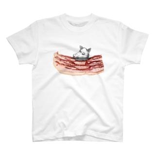 肉食/ベーコン×豚頭さん T-shirts
