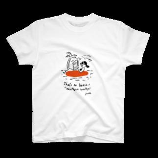 AMU KAGOSHIMAの江夏潤一 イラストチャリT T-shirts