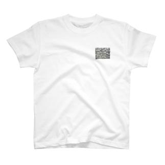 石垣 打込接 Stone wall in Uchikomi-hagi style  T-shirts