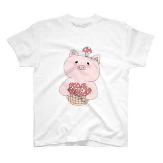 きのこ狩り豚ちゃん T-shirts