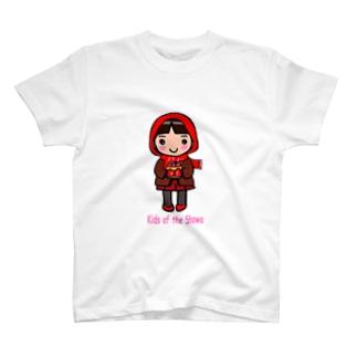 昭和キッズ 真知子巻きの少女 T-shirts
