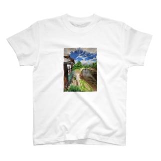 地元の風景 油彩 Tシャツ