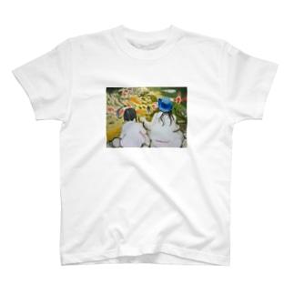 姉妹の絵画 油絵 Tシャツ
