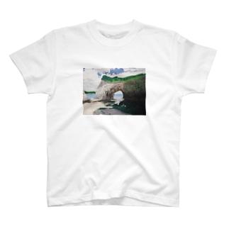 海辺のデザイン 油彩風 Tシャツ