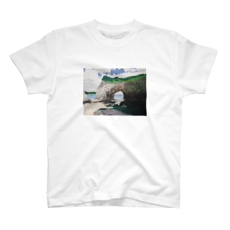タコ夜勤@スタンプ制作致しますの海辺のデザイン 油彩風 Tシャツ