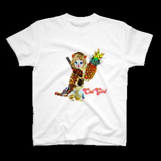 Rock catのCAT GIRL パイナップル T-shirts