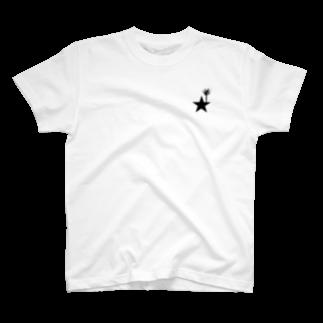 yosimusiのブラックスター 004(Blackstar 004)with アロエ・ディコトマ(aloe dichotomal) T-shirts