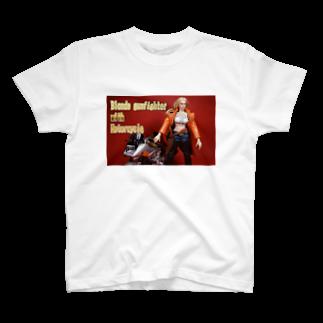 FUCHSGOLDのドール写真:金髪美女とオートバイ Doll picture: Blonde gunfighter & motorcycle T-shirts