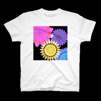 飛べる黒猫のFlower flower T-shirts