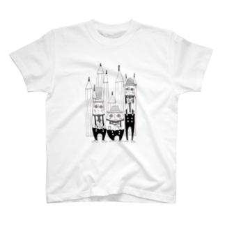 三人の読書好きのおじさん T-shirts