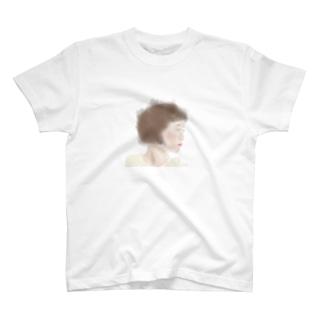 水彩横顔 ボブガール  T-shirts