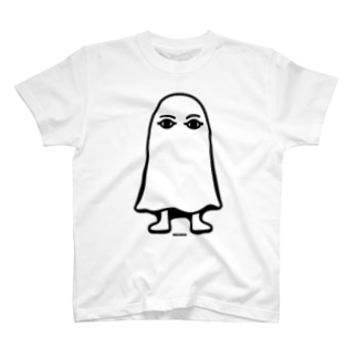 エジプトの神様★メジェドさま★仁王立ち-モノクロ T-shirts