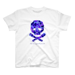 フラワードクロ(ブルー) T-shirts