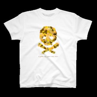 スカル君とスケルちゃんのフラワードクロ(イエロー) T-shirts