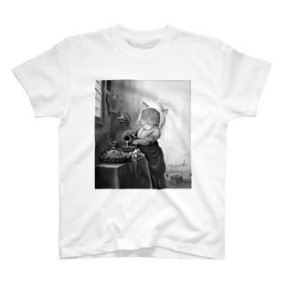 ミルクを入れるニャンコ (Tシャツは背面が肉球,ジップパーカーは背面がテクスチャ仕様) T-shirts