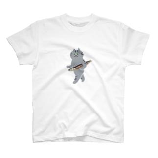 盗んだ焼きサンマと歩き出す猫(中) T-shirts