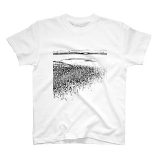 自然系藤井川河口汽水湿原のモノクロフォト T-shirts