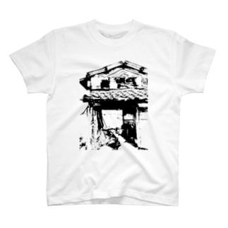 いなか系とある廃屋のモノクロフォト T-shirts