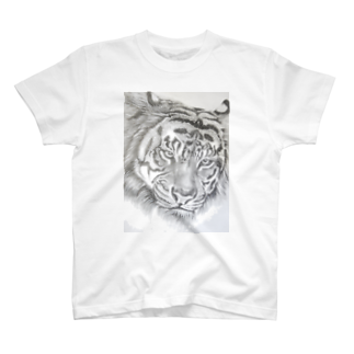 wanwanartのトラの鉛筆画 Tシャツ