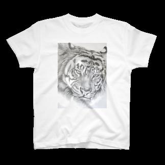 wanwanartのトラの鉛筆画 T-shirts