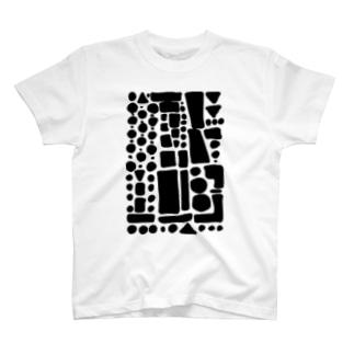 ブラックぽたぽたぽふぽふ T-shirts