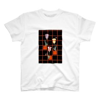 花とみつめ_格子2 T-shirts