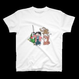 ねこまんめの桃太郎と無抵抗鬼 T-shirts