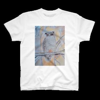 SNOW LIFE JOURNEYの北海道のいきものシリーズ シマフクロウ T-shirts