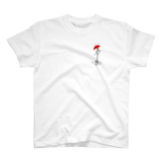 こんイラスト 雨降りのこん T-shirts