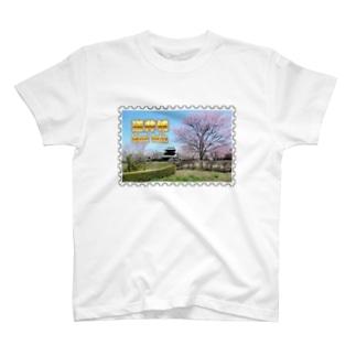 日本の城:桜咲く逆井城の春景色★白地の製品だけご利用ください!! Japanese castle: Sakasai Castle with Cherry flowers★Recommend for white base product only !! T-shirts