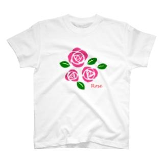 ピンクの薔薇 花言葉は感銘・上品・おしとやか T-shirts