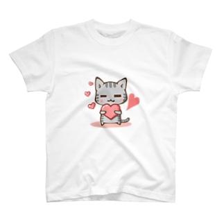 くつろぎ猫(ハート) T-shirts