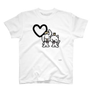 デカ文字わんこ「♡」 T-shirts