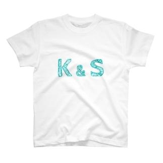 イニシャル Tシャツ K&S ペア T-Shirt