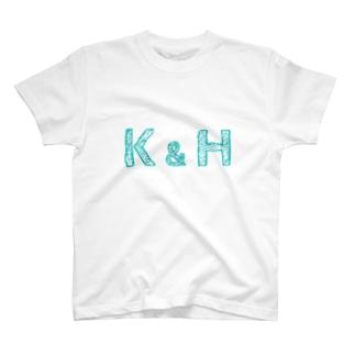 イニシャル Tシャツ K&H ペア T-Shirt