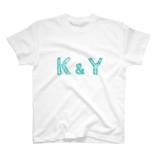 イニシャル Tシャツ K&Y ペア T-Shirt