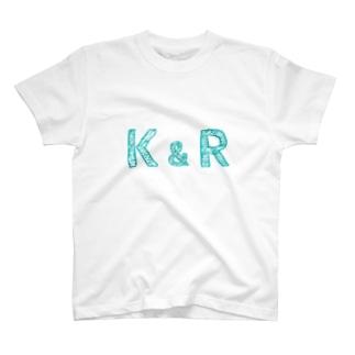 イニシャル Tシャツ K&R ペア T-Shirt