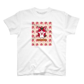 [フルーツ猫シリーズ]いちご猫のフラガリア・縁取りver. T-shirts