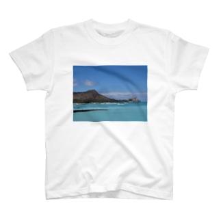 ハワイ ダイヤモンドヘッドと海 T-shirts