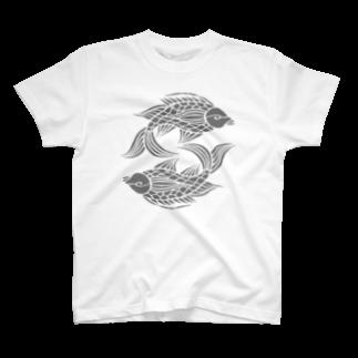 ツバメ堂の沖縄の風♪ 壷屋焼風双魚文(濃) T-shirts