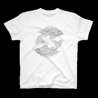 ツバメ堂の沖縄の風♪ 壷屋焼風双魚文 T-shirts