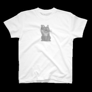 ツバメ堂のまねきねこ・ひかえめ Tシャツ