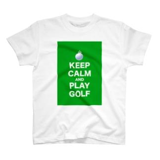 KEEP CARM AND PLAY GOLF T-shirts