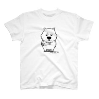 悲しげなウォンバット(黒) T-shirts