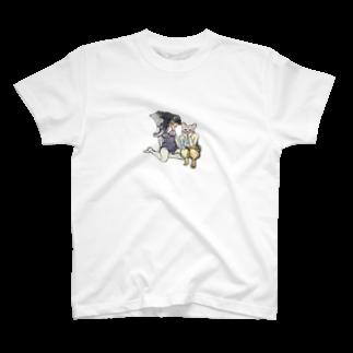 無難しめじのゾウとネコ T-shirts