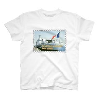 フランス海軍:ヘリ空母ジャンヌ・ダルク★白地の製品だけご利用ください!! French Navy: Jeanne d'Arc (porte-hélicoptères)★Recommend for white base products only !! T-shirts