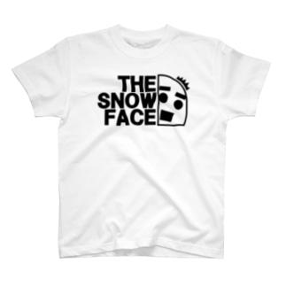 ハッとする雪だるま ざ・すのー・ふぇいす黒 2019冬モデル T-shirts