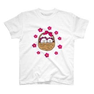 ビションフリーゼ 花かご T-shirts