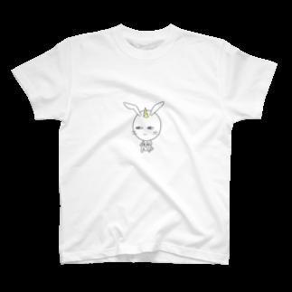 氷笠ケンジのお店の鬼の白うさ君(鬼の白いうさぎ) T-shirts